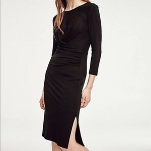 Ann Taylor Black Ruched Dress Size Medium